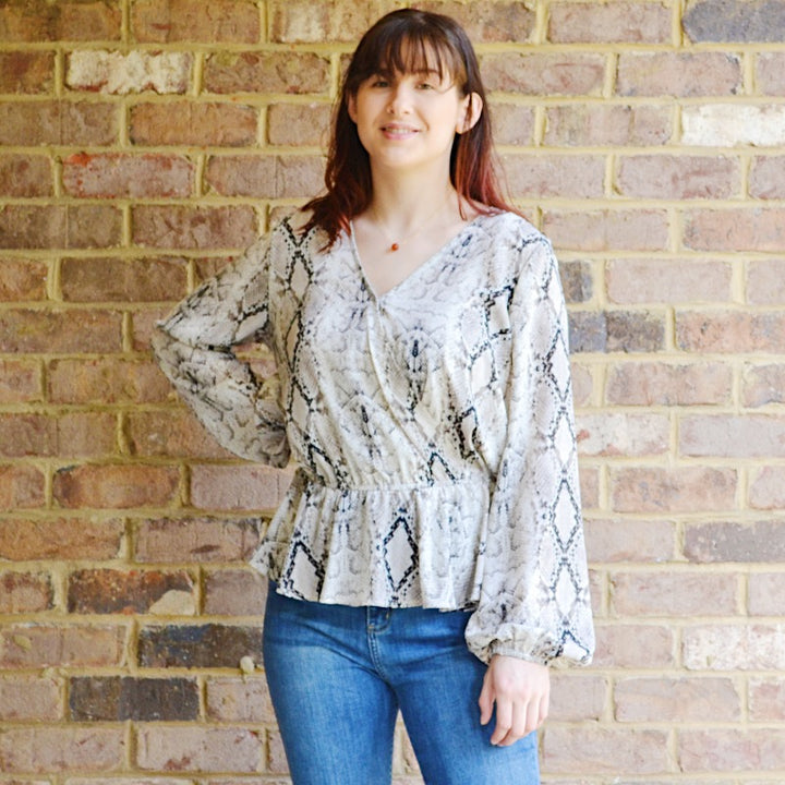 On The Town Taupe Snakeskin Print Top - Birdsong Designs Online