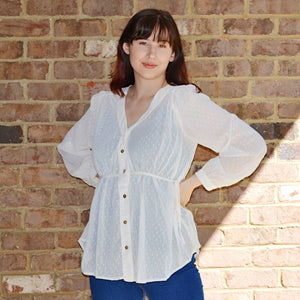 See Me Moving Swiss Dot Button Blouse - Birdsong Designs Online