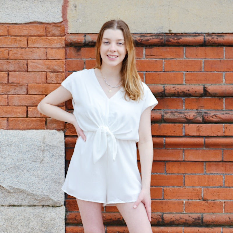 You Got That Right Front Tie short Sleeve Romper - Birdsong Designs Online