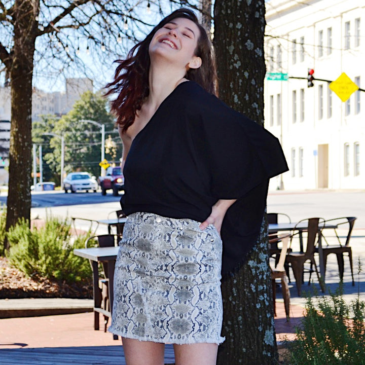 Darling Dear Snakeskin Print Distressed  Skirt - Birdsong Designs Online