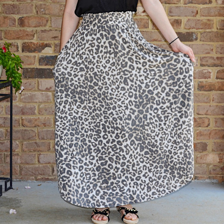 Lovely Lassie Tan & Black Leopard Maxi Skirt - Birdsong Designs Online