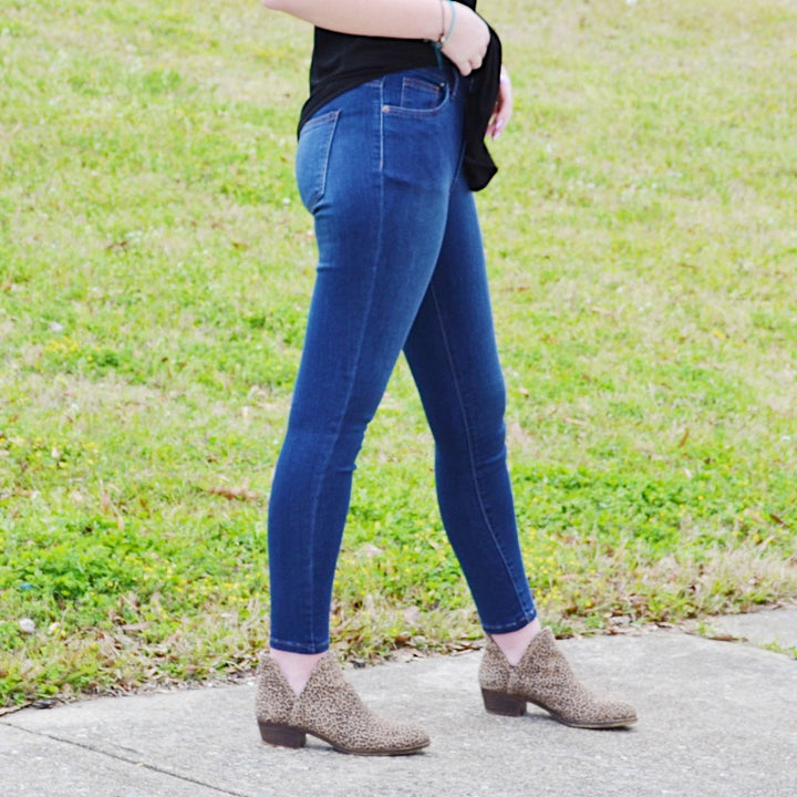 Run Along Mid Rise Dark Wash Skinny Jeans - Birdsong Designs Online