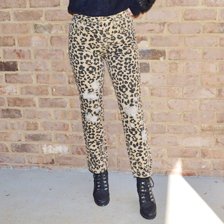 Wild Side Tan Leopard Print Pants - Birdsong Designs Online