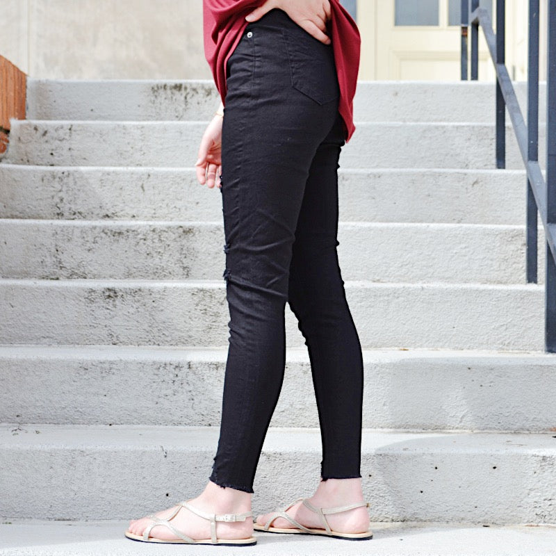 Downtown Gal Black Distressed Skinny Jeans - Birdsong Designs Online