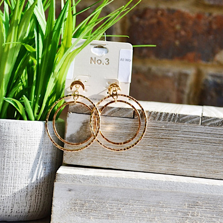 All Worth it Gold Hammered Circle Earrings - Birdsong Designs Online