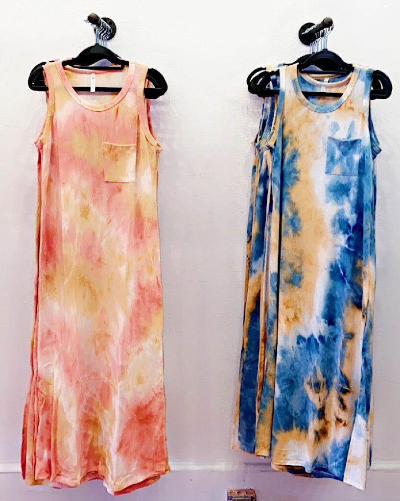 Good Vibrations Tie Dye Maxi Tank Dress - Birdsong Designs Online