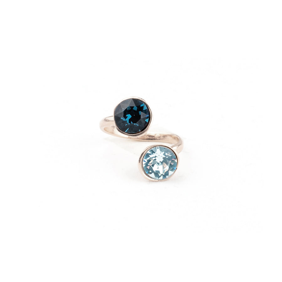 Anello modellabile, lega rame e zinco galvanica in rodio e Cristalli Swarovski Denim Blue e Acquamarine