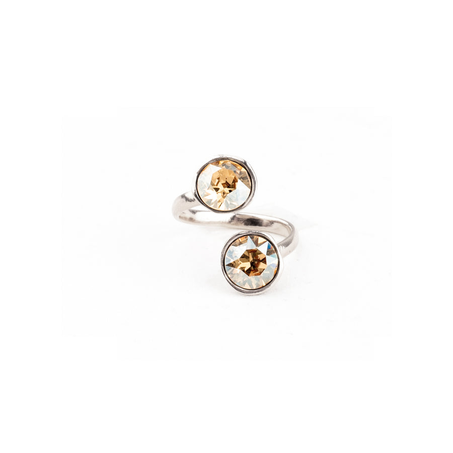 Anello modellabile, lega rame e zinco galvanica in rodio e Cristalli Swarovski Golden Shadow
