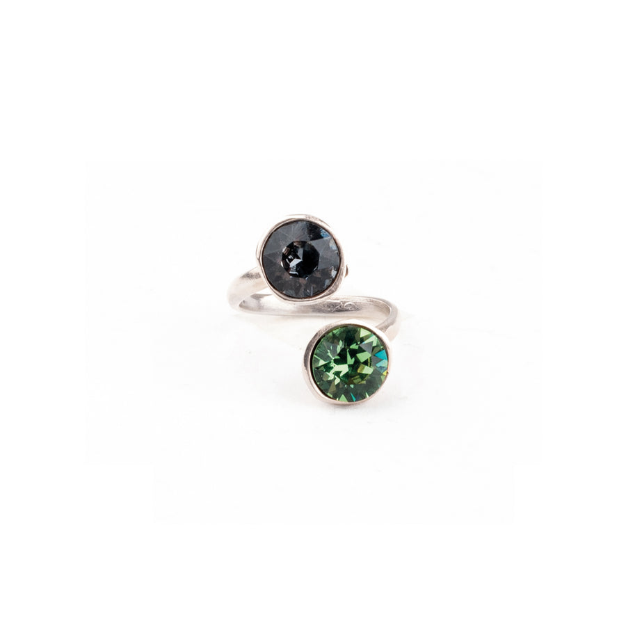 Anello modellabile, lega rame e zinco galvanica in rodio e Cristalli Swarovski SILVER NIGHT e ERINITE