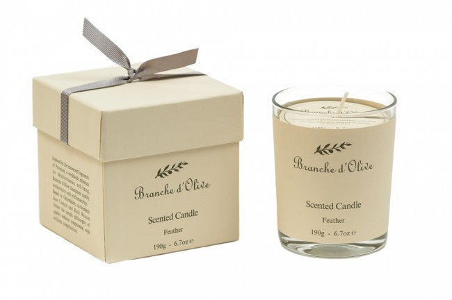 Boxed-Scented-Candle-(Mineral Wax)-Feather-by-branche-d-olive-from-www.rawxclusive.co.uk