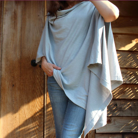 Cotton Knit Poncho - Light Grey