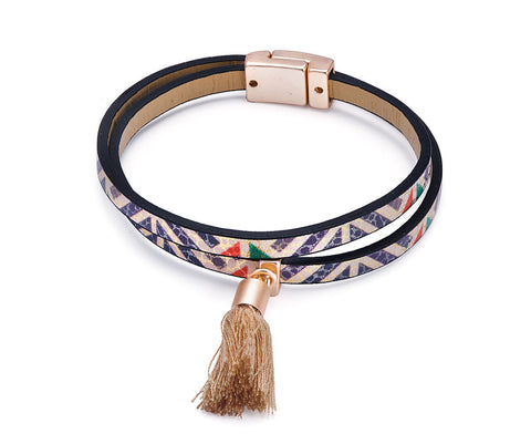 Multi Coloured Leather Look Boho Tassel Bracelet