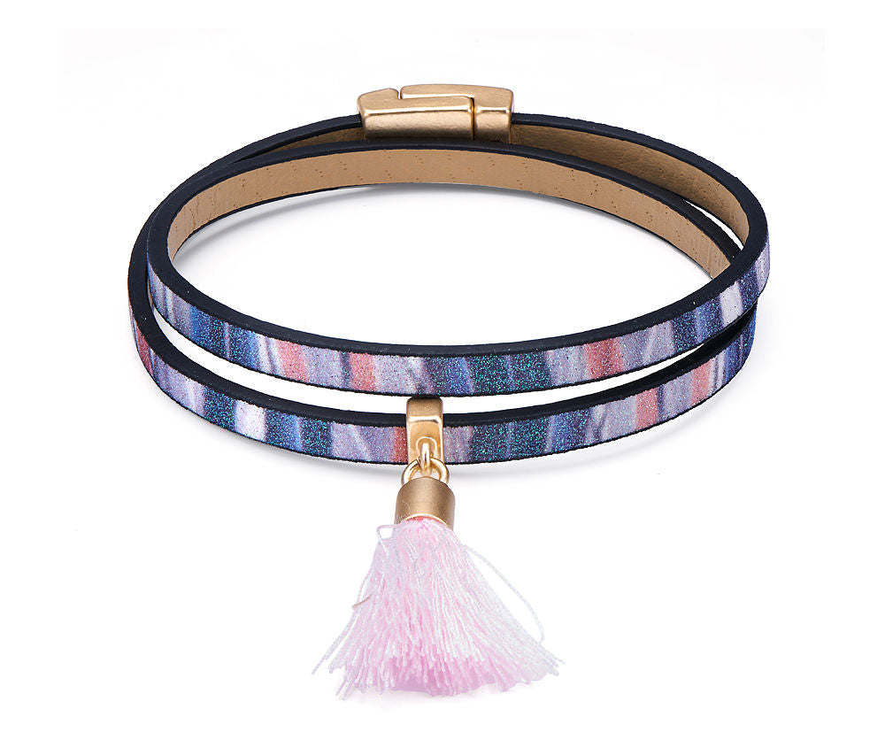 Pink/Multi Coloured Leather Look Boho Tassel Bracelet