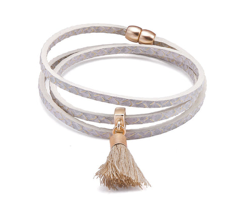 Grey and Gold Tassel Wrap Bracelet