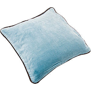 Cotton Velvet Square Cushion - Sky Blue