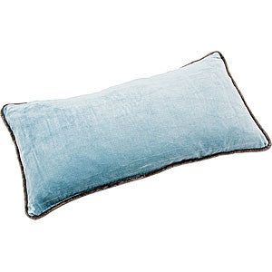 Cotton Velvet Rectangle Cushion - Sky Blue