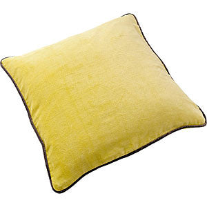 Cotton Velvet Square Cushion - Lemon