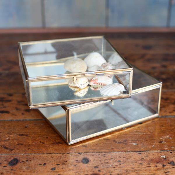 Nkuku Antique Brass Glass Box Available from www.rawxclusive.co.uk