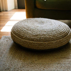 Nkuku Braided Hemp Pouf from www.rawxclusive.co.uk