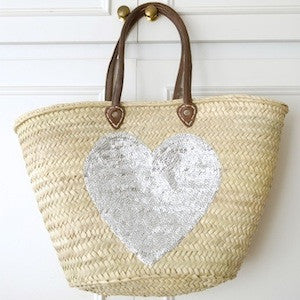 Large Silver Sequin Heart Basket