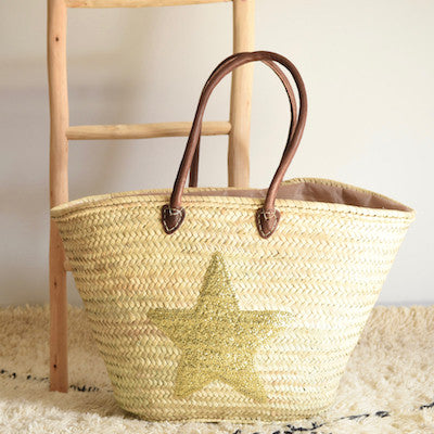 Large Shopping Basket with Gold Sequin Star