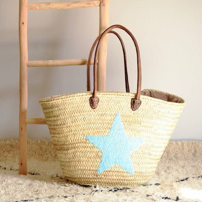 Turquoise Sequin Star Large Shopping Basket