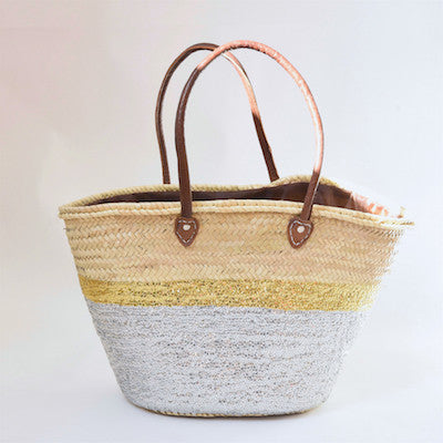Maya Large Shopping Basket in Silver/Gold duo
