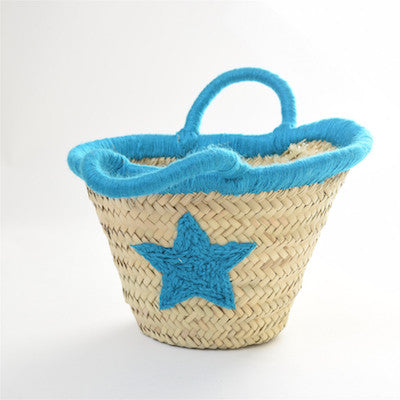 Beldi Small Wool Edge Basket with Star - Blue
