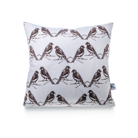 Square Linen Cushion - Birds