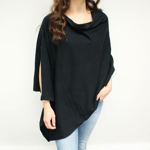 Cotton Knit Poncho - Black