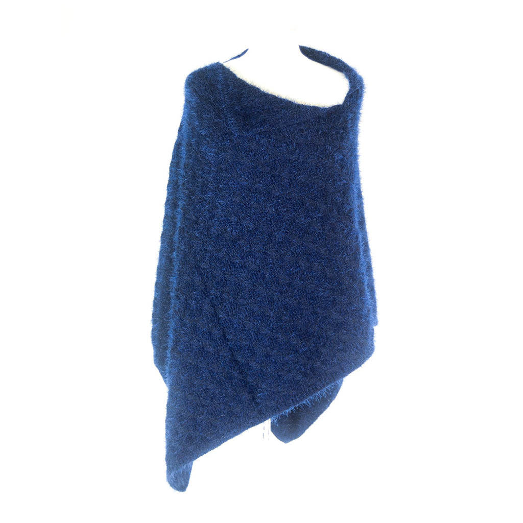 Knitted Poncho - Blue