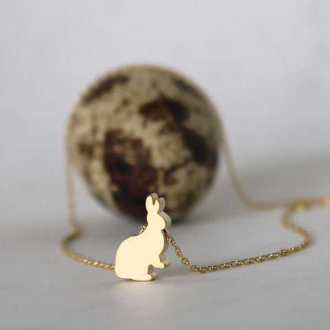 Hoppy Bunny Necklace - Gold