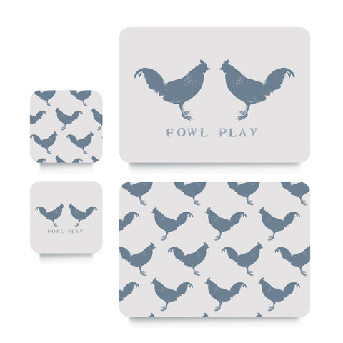 Coaster or Placemat - Chickens Blue