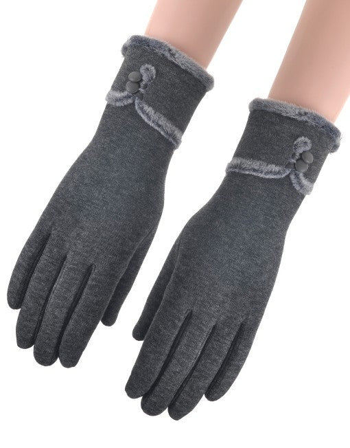 Faux Fur Gloves - Grey