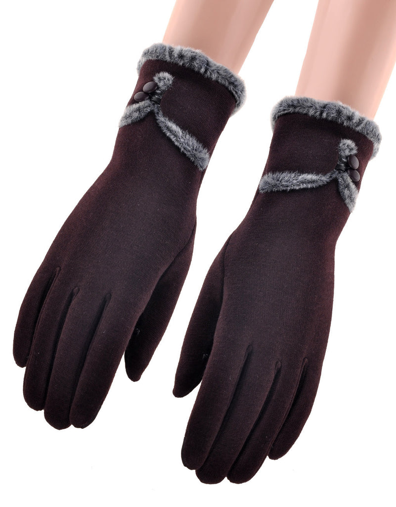 Faux Fur Gloves - Burgandy