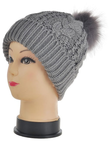 Faux Fur Pom Pom Hat - Grey