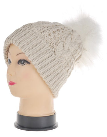 Faux Fur Pom Pom Hat - Natural