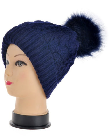 Faux Fur Pom Pom Hat - Navy