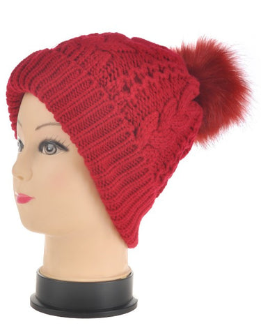 Faux Fur Pom Pom Hat - Red