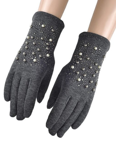 Pearl Beaded Gloves - Grey