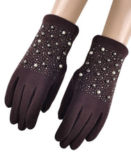 Pearl Beaded Gloves - Burgandy