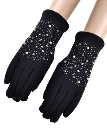 Pearl Beaded Gloves - Black