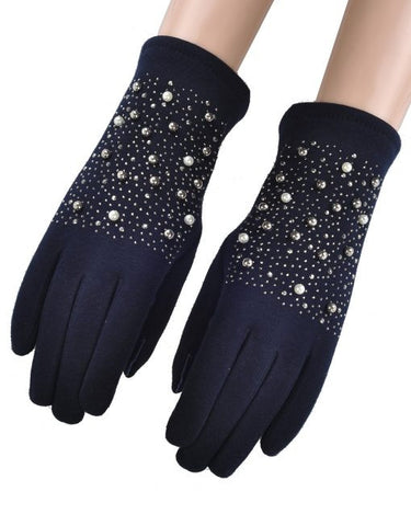 Pearl Beaded Gloves - Navy