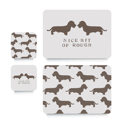 Coaster or Placemat - Wired Dachshund Brown