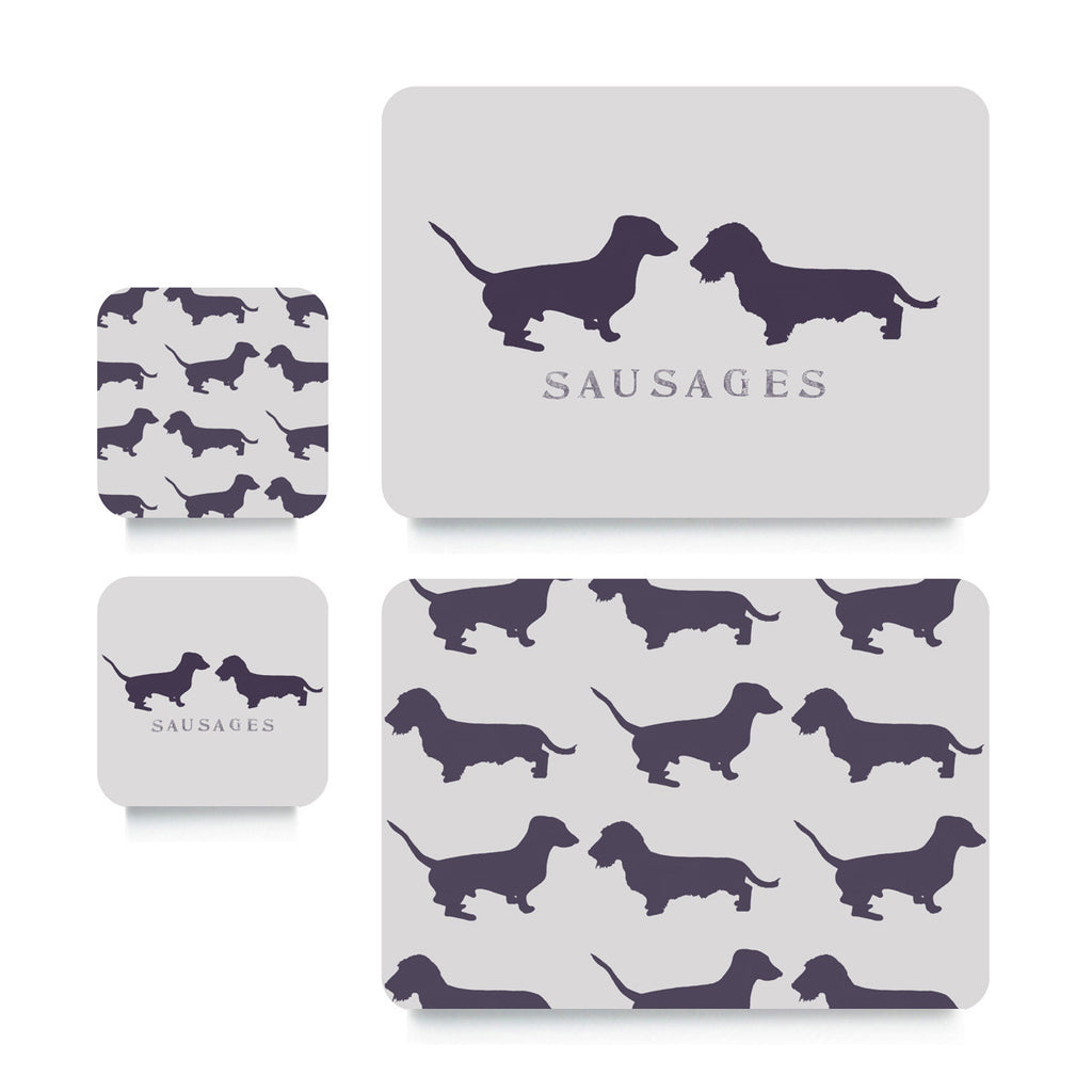 Coaster or Placemat - Sausage Dogs Plum