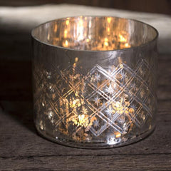 Nkuku Etched Glass T-Light Holder Available from www.rawxclusive.co.uk
