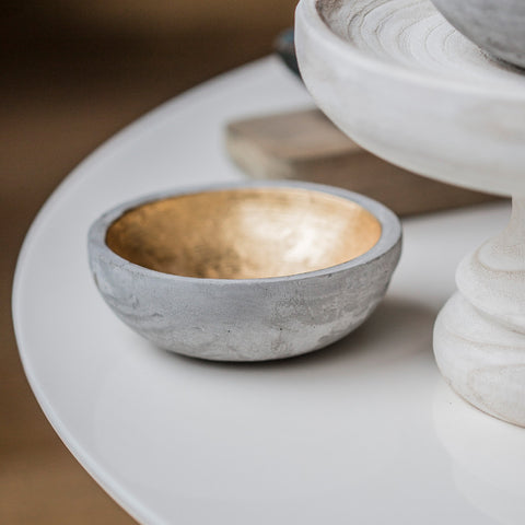Concrete Bowl with Gold Finish