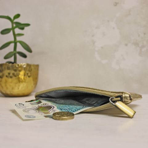 Leather Coin Purse - Gold
