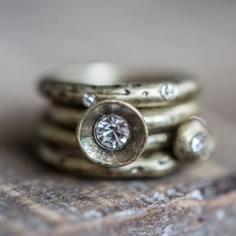 Gold Stacking Rings with Clear Crystal Stones