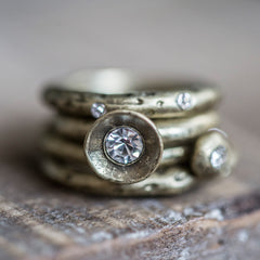 Tutti Gold Stacking Rings with Clear Crystal Stones Available from www.rawxclusive.co.uk